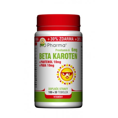 Beta karoten 6mg + Pantenol 10mg + PABA 10mg 100+30tobolek