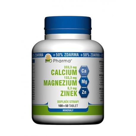 Calcium 333,3 mg Magnezium 133,3 mg Zinek 8,3 mg 100+50 tablet