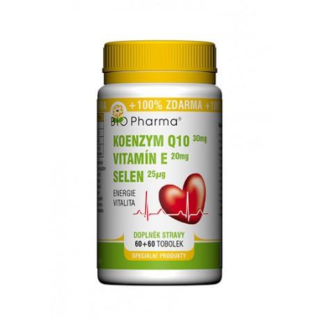 Koenzym Q10 30mg Vitamín E 20mg Selen 25µg 60+60 tobolek