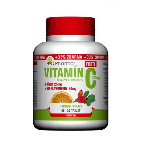 Vitamín C Forte 1000mg s šípky 25mg + bioflovonoidy 34mg T.R. 90+30tablet