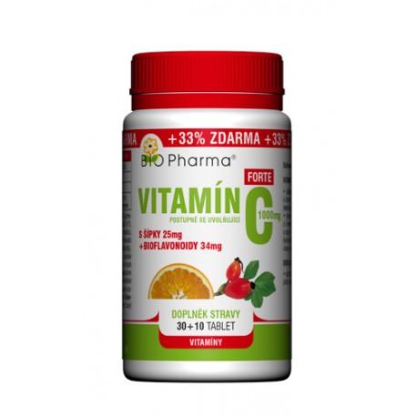 Vitamín C Forte 1000mg s šípky 25mg + bioflovonoidy 34mg T.R. 30+10tablet