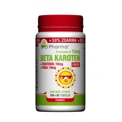 Beta karoten Forte 15mg + Pantenol 10mg + PABA 10mg 100+50tobolek
