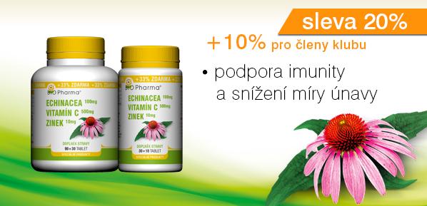 Echinacea 100mg Vitamín C 500mg Zinek 10mg 90+30